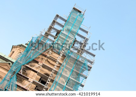 Reconstruction of the old tower - stock photo