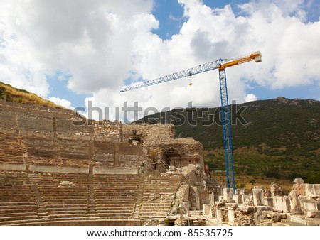 Reconstruction of the remains of the large Amphitheater (Coliseum) in the city of Ephesus in modern day Turkey