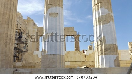 Reconstruction works on the Parthenon at the Acropolis, Athens, Greece. Detail of marble columns.  - stock photo