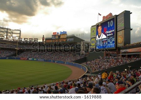 Record crowd watches the Braves vs. Mets game at Turner Field - stock photo