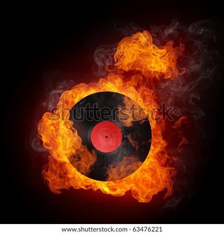 Record in Fire. Computer Graphics. Design Element. - stock photo
