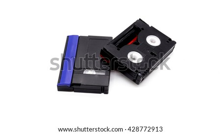 Record tape for camcorder isolate on white background