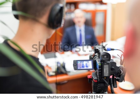 Recording an interview with a politician.