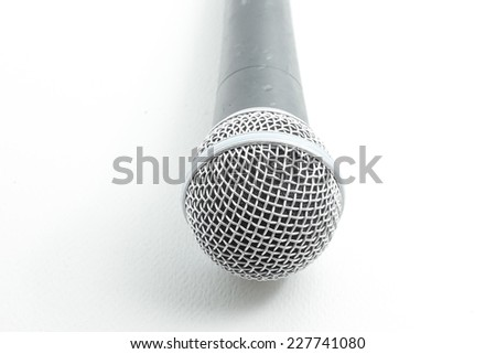 recording microphone for lead vocal on live gig , isolated on white - stock photo