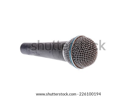 recording microphone for lead vocal on live gig ,  music instrument for performance isolated on white - stock photo