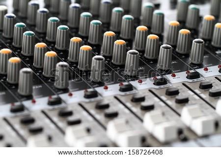 Recording Mixer - close up - stock photo