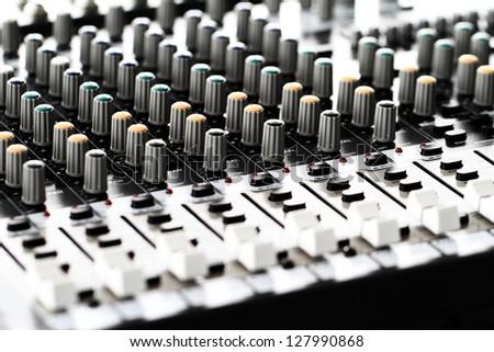 Recording Mixer - close up detail - stock photo