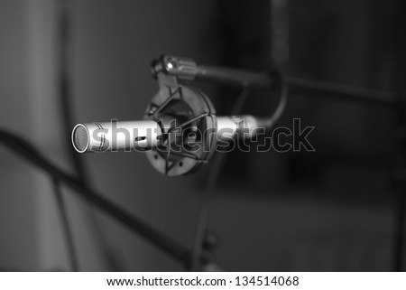 recording studio microphone in black and white