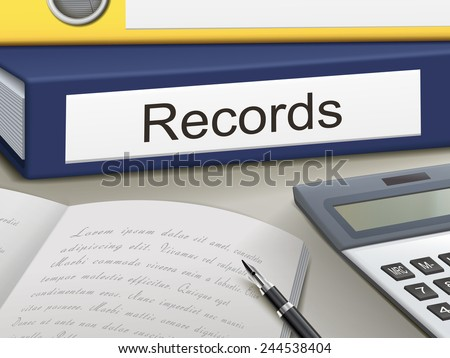 records binders isolated on the office table - stock photo