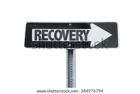 Recovery direction sign isolated on white - stock photo
