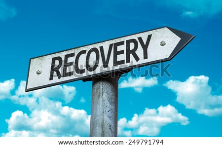 Recovery sign with sky background - stock photo