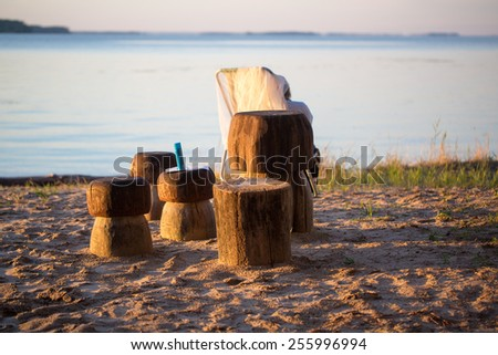 Recreation area on the banks of the river photo for you - stock photo