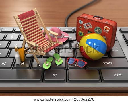 Recreation concept. Thoughts about the rest on the workplace. Sunbed, sunglass,cap, beach shoes, sun cream and suitcase for travel on the keyboard. - stock photo