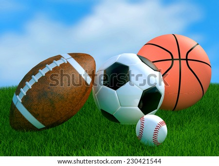 Recreation leisure sports equipment on grass with a football basketball soccer  as a symbol of healthy physical activity