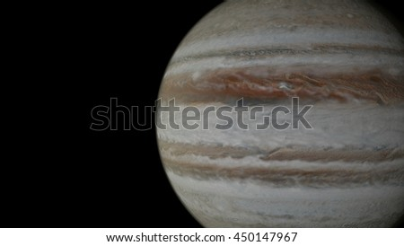 Recreation of Jupiter planet satellite view. 3D animation of spacecraft view of planet jupiter in outer space.