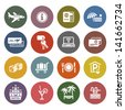 Recreation, Travel & Vacation, icons set - Retro color version. Vector version (eps) also available in gallery - stock photo