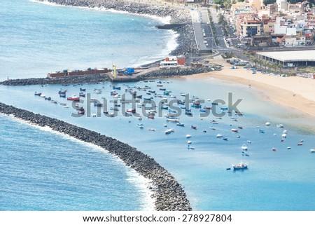 Recreational boats near San Andres and Teresitas beach on Tenerife Island Spain - stock photo