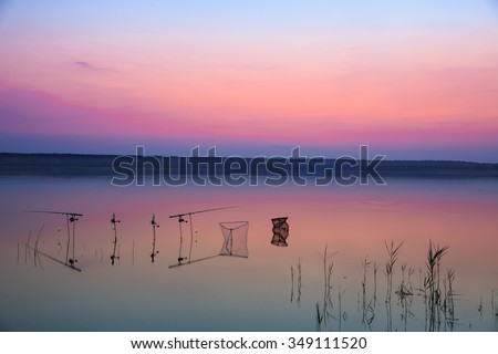 Recreational fishing with a beautiful sky at sunset