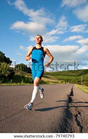 Recreational runner running in nature