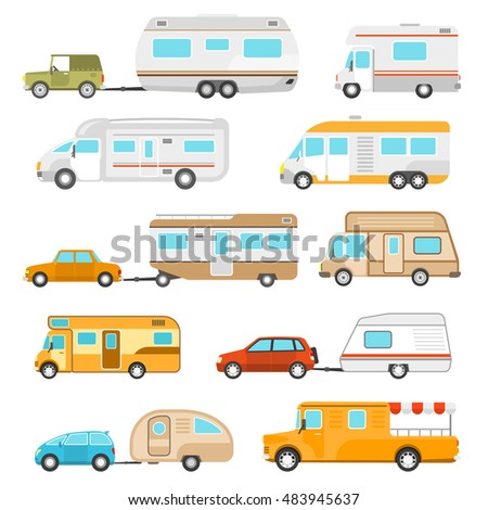 Recreational vehicle icons set with different types of motorhomes flat isolated  illustration