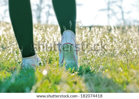 Recreational  walks improves your health and mood in spring - stock photo
