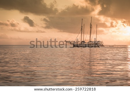 Recreational Yacht at the Indian Ocean. Beautiful sunset