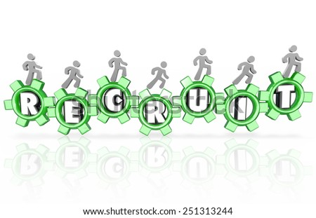 Recruit word in 3d gears and workers, employees or team members walking to illustrate job candidates for your recruitment campaign - stock photo