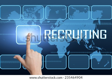 Recruiting concept with interface and world map on blue background - stock photo