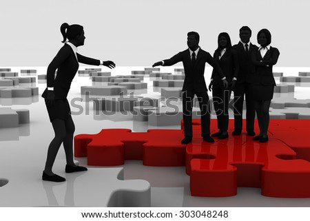 Recruiting on a jigsaw puzzle. A team recruiting a candidate like pieces of a jigsaw puzzle. - stock photo