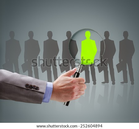 Recruitment and job search concept for choosing the right people and human resources - stock photo