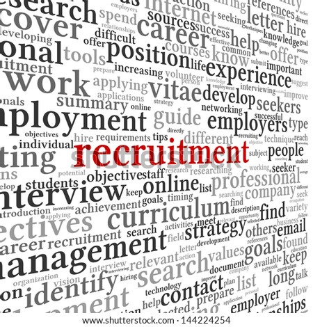 Recruitment concept in word tag cloud on white background - stock photo
