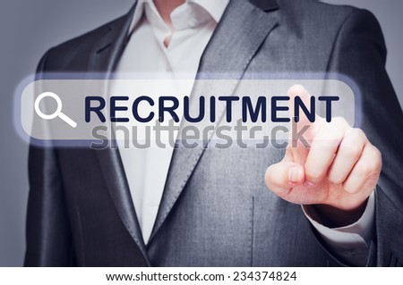 Recruitment concept written on virtual screen. Web search - stock photo