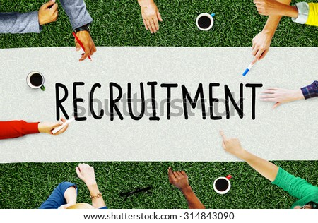 Recruitment Employment Hiring Human Resource Concept - stock photo