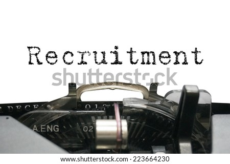 Recruitment on typewriter - stock photo