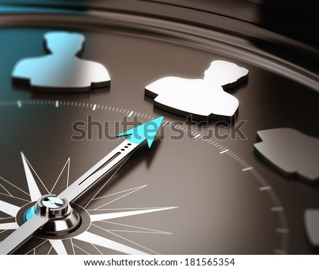 Recruitment or hiring qualified candidate concept. Compass needle pointing a talent symbol over a brown and blue background with focus and blur effect. - stock photo