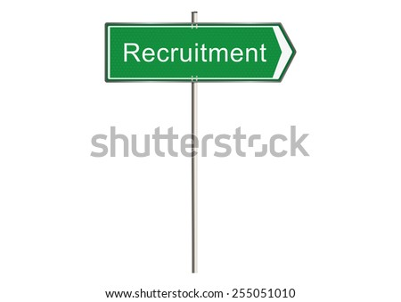 Recruitment. Road sign. Raster.