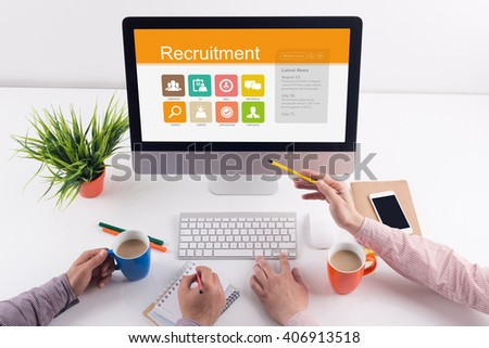 Recruitment screen on the workplace - stock photo