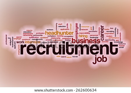 Recruitment word cloud concept with abstract background - stock photo