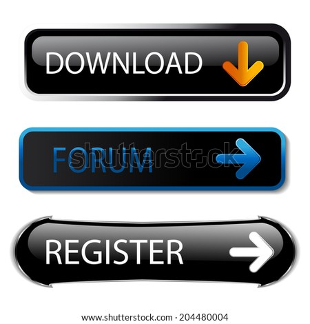 rectangle buttons with arrow - download, forum, register
