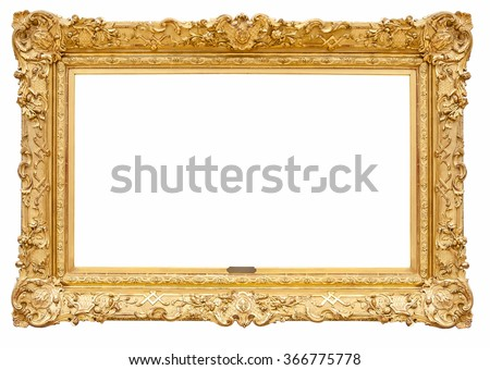 Rectangle decorative golden picture frame isolated on white background with clipping path - stock photo
