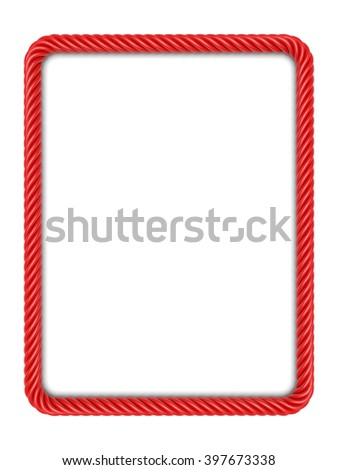 Rectangle frame made up ??of red rope. 3d image