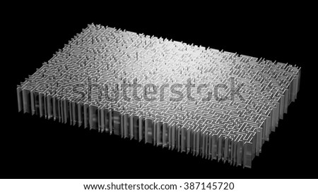 Rectangle Maze On Black Background - stock photo