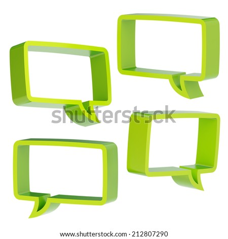 Rectangle shaped green text bubble dimensional shapes isolated over the white background, set of four foreshortenings - stock photo