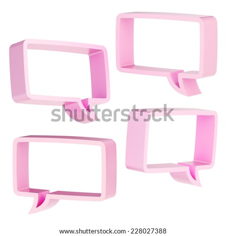 Rectangle shaped pink text bubble dimensional shapes isolated over the white background, set of four foreshortenings - stock photo