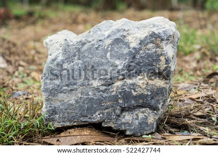 Rectangle shaped rock on the ground.