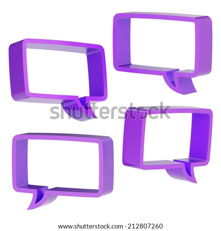 Rectangle shaped violet text bubble dimensional shapes isolated over the white background, set of four foreshortenings - stock photo