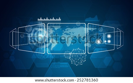 Rectangles with world map and other elements, on blue technology background - stock photo