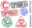 Rectangular and round copyright rubber stamp - stock vector