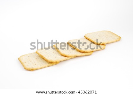 rectangular cheese crackers isolated on white background