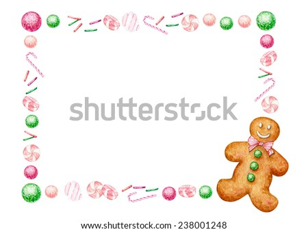 Rectangular frame made of watercolor hand drawn Christmas goodies and gingerbread man. - stock photo